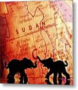 Elephant Silhouettes In Front Of A Map Metal Print by Chris Knorr
