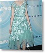 Elle Fanning Wearing A Dress By Marc Metal Print by Everett