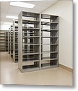 Empty Metal Shelves Metal Print by Jetta Productions, Inc