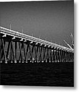End Of The Jetty At Cloghan Point Oil Terminal In Belfast Lough Northern Ireland Uk Metal Print by Joe Fox