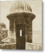 Entrance To Sentry Tower Castillo San Felipe Del Morro Fortress San Juan Puerto Rico Vintage Metal Print by Shawn O'Brien