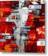 Eva Peron Nude En Rouge Metal Print by Karine Percheron-Daniels