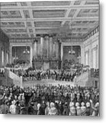 Exeter Hall Filled With A Large Crowd Metal Print by Everett