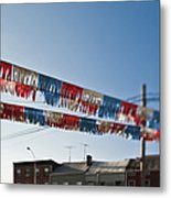 Exterior Red White And Blue Decorations Metal Print by Eddy Joaquim