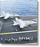 Fa-18 Aircraft Prepare To Take Metal Print by Stocktrek Images
