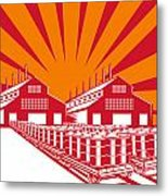 Factory Building Oil Drum Barrel Retro Metal Print by Aloysius Patrimonio