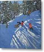 Falling Off The Sledge Metal Print by Andrew Macara