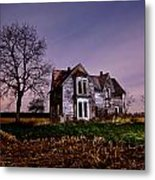 Farm House At Night Metal Print by Cale Best