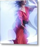Fashion Photo Of A Woman In Shining Blue Settings Wearing A Red  Metal Print by Oleksiy Maksymenko