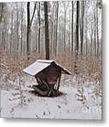Feed Box In Winterly Forest Metal Print by Matthias Hauser
