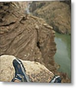 Feet Shod In River Shoes On An Overlook Metal Print by Bobby Model