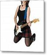 Female Guitarist Jumps  Metal Print by Ilan Rosen