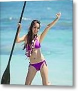 Female Stand Up Paddler Metal Print by Tomas del Amo