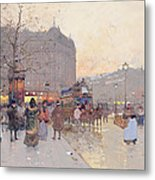 Figures In The Place De La Bastille Metal Print by Eugene Galien-Laloue