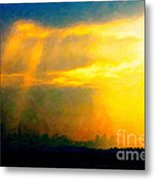Fire In The City Metal Print by Wingsdomain Art and Photography