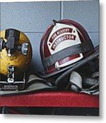 Fireman Helmets And Gear Metal Print by Skip Nall