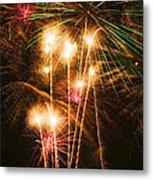 Fireworks In Night Sky Metal Print by Garry Gay