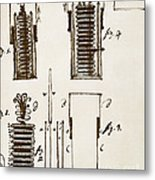 First Electric Battery Metal Print by Science Source