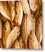 Fish Pattern On Wood Metal Print by Setsiri Silapasuwanchai