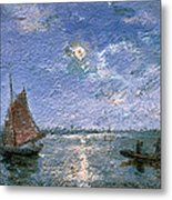 Fishing Boats By Moonlight Metal Print by Alfred Wahlberg