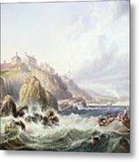 Fishing Boats Off Scotland Metal Print by John Wilson Carmichael