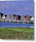 Fishing Shacks Line The Bay At Malpeque Metal Print by Leanna Rathkelly