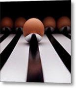 Five Brown Eggs Held In Five Stainless Steel Spoon Metal Print by TonyMaj