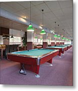 Five Pool Billiards Tables In A Row Metal Print by Corepics