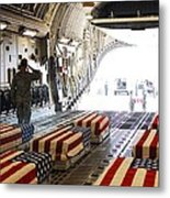 Flag Draped Coffins Of Five Us Soldiers Metal Print by Everett