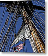 Flag In The Rigging Metal Print by Garry Gay