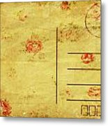 Floral Pattern On Old Postcard Metal Print by Setsiri Silapasuwanchai