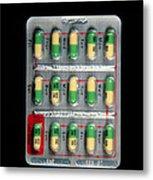 Foil Pack Of Prozac Pills Metal Print by Damien Lovegrove