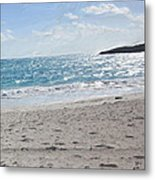 Footprints In The Sand Metal Print by Wayne Bonney
