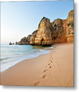 Footsteps In Sand Metal Print by Monica and Michael Sweet