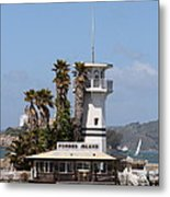 Forbes Island Restaurant With Alcatraz Island In The Background . San Francisco California . 7d14257 Metal Print by Wingsdomain Art and Photography