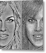 Four Interpretations Of Hilary Swank Metal Print by J McCombie