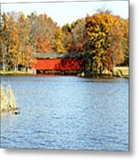 Fowler Lake And Covered Bridge Metal Print by Franklin Conour