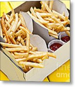 French Fries In Box Metal Print by Elena Elisseeva