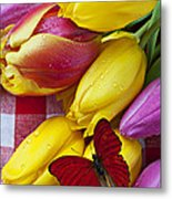 Fresh Tulips And Red Butterfly Metal Print by Garry Gay