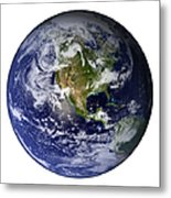 Full Earth Showing North America White Metal Print by Stocktrek Images