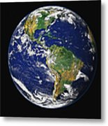 Full Earth Showing The Western Metal Print by Stocktrek Images