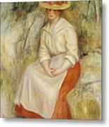 Gabrielle In A Straw Hat Metal Print by Pierre Auguste Renoir