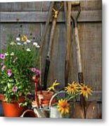 Garden Shed With Tools And Pots  Metal Print by Sandra Cunningham