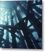 Gas Platform Support Tower Metal Print by Peter Scoones