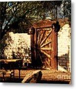 Gate To Cowboy Heaven In Old Tuscon Az Metal Print by Susanne Van Hulst