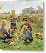 Gathering Flowers Metal Print by Joseph Julien