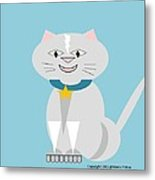 Geo Smiley Cat Metal Print by Maria Urso