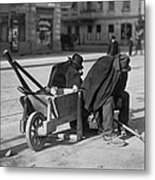 German Street Sweepers Taking Lunchtime Metal Print by Everett
