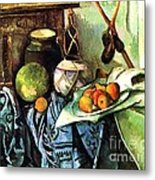 Ginger Jar And Eggplants Metal Print by Pg Reproductions