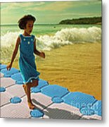 Girl In A Knitted Dress Metal Print by Paul Grand
